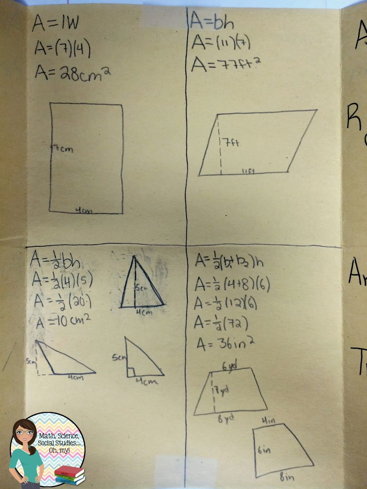 Foldable Friday Area Formulas
