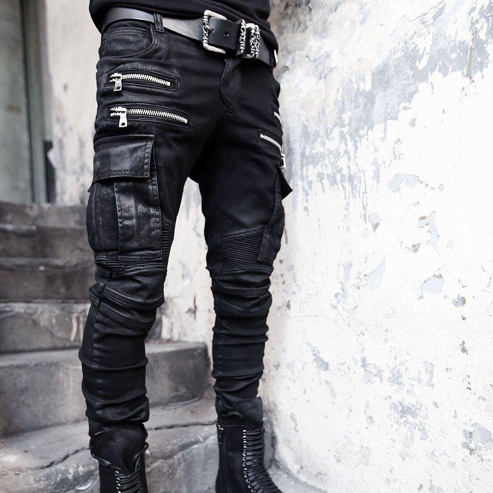 BytheR Men s Korean Fashion Casual Modern Wax Coated Cargo Biker Pants  P000BGET a588270d19