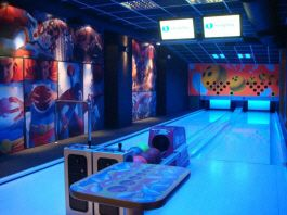 Imply Bowling Cafe Uv Black Light Blacklight Compact Bowling Alley Lane Concept From Imply Bowling Alley Bowling Arcade Room