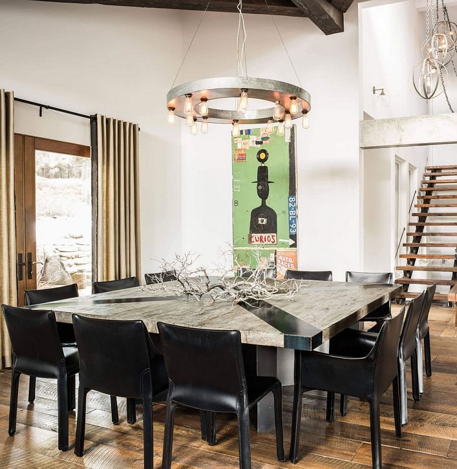 7 Foot Recycled Wood Square Table For The Rustic Dining Room