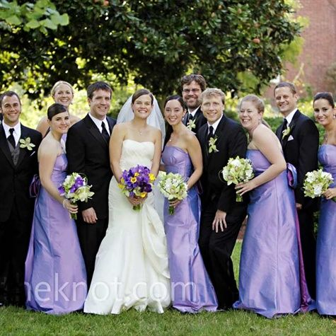 Long lavender bridesmaid dresses with two-toned sashes complemented ...