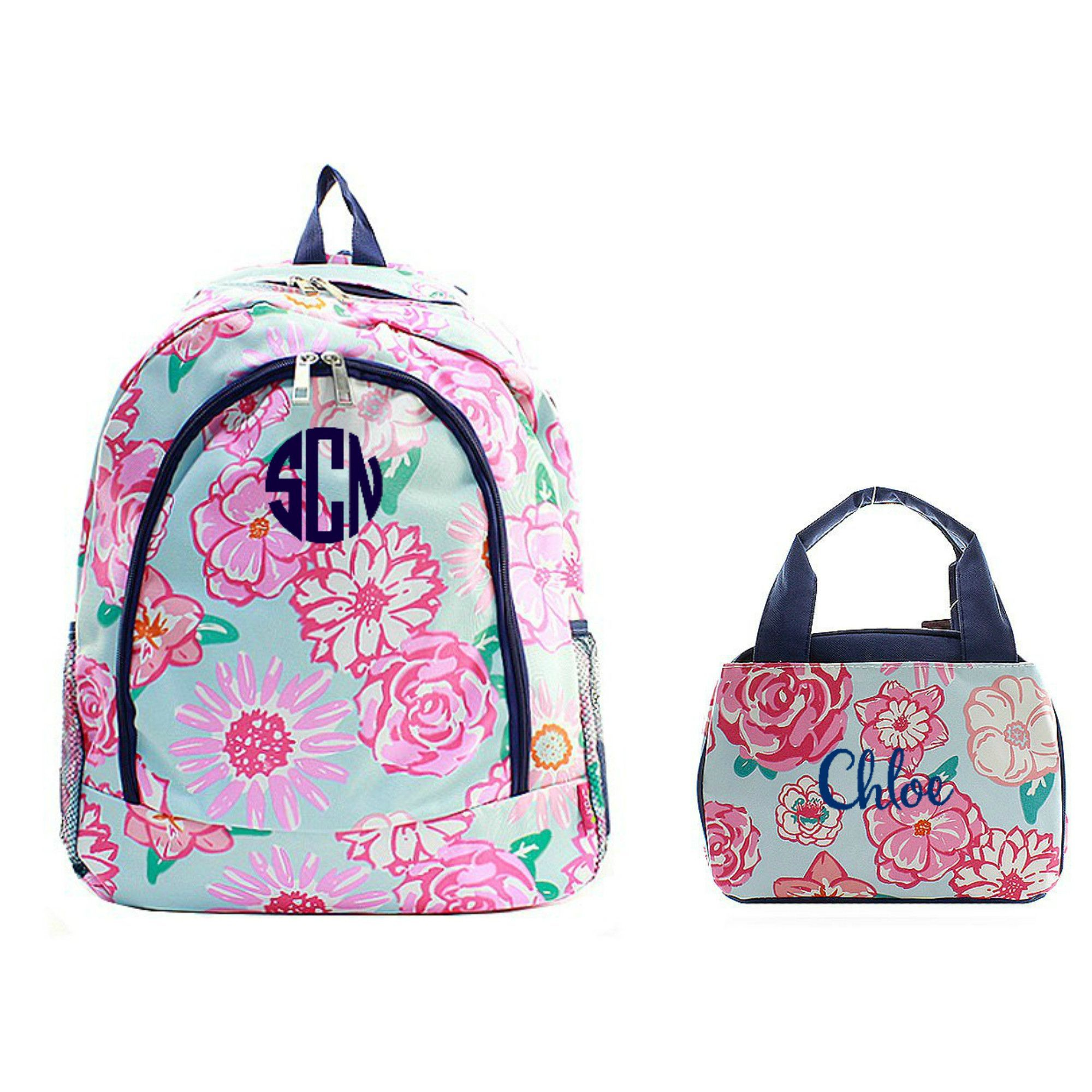 Matching Floral Navy Personalized Kids Backpack & Lunch Bag Set ...