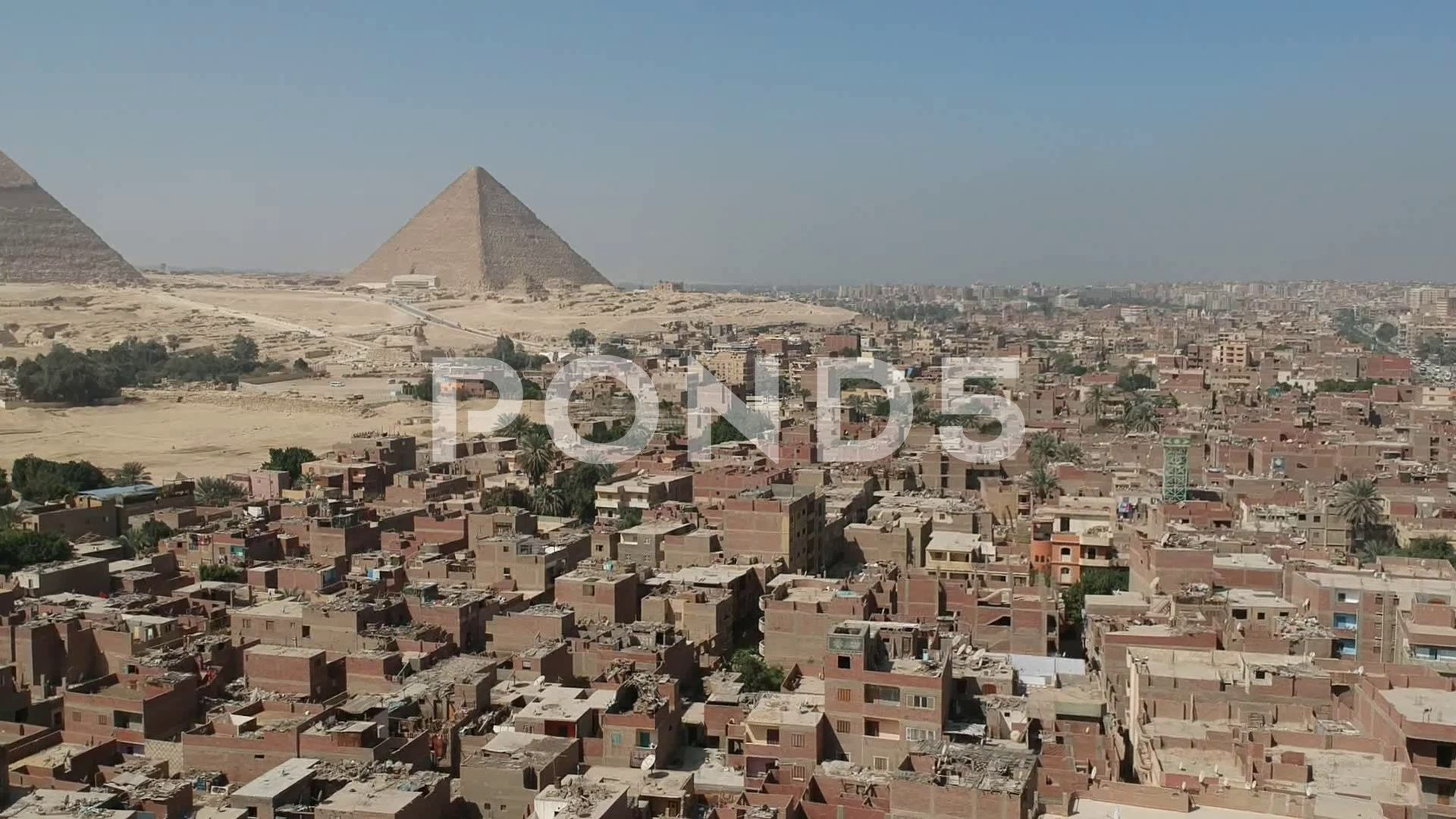 Drone Footage Pyramids Of Giza Egypt Near Cairo Stock Footage