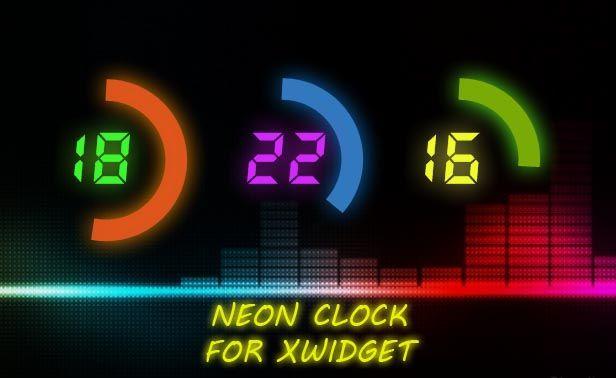 Neon Clock Widget for Windows PC   XWidget   Neon clock