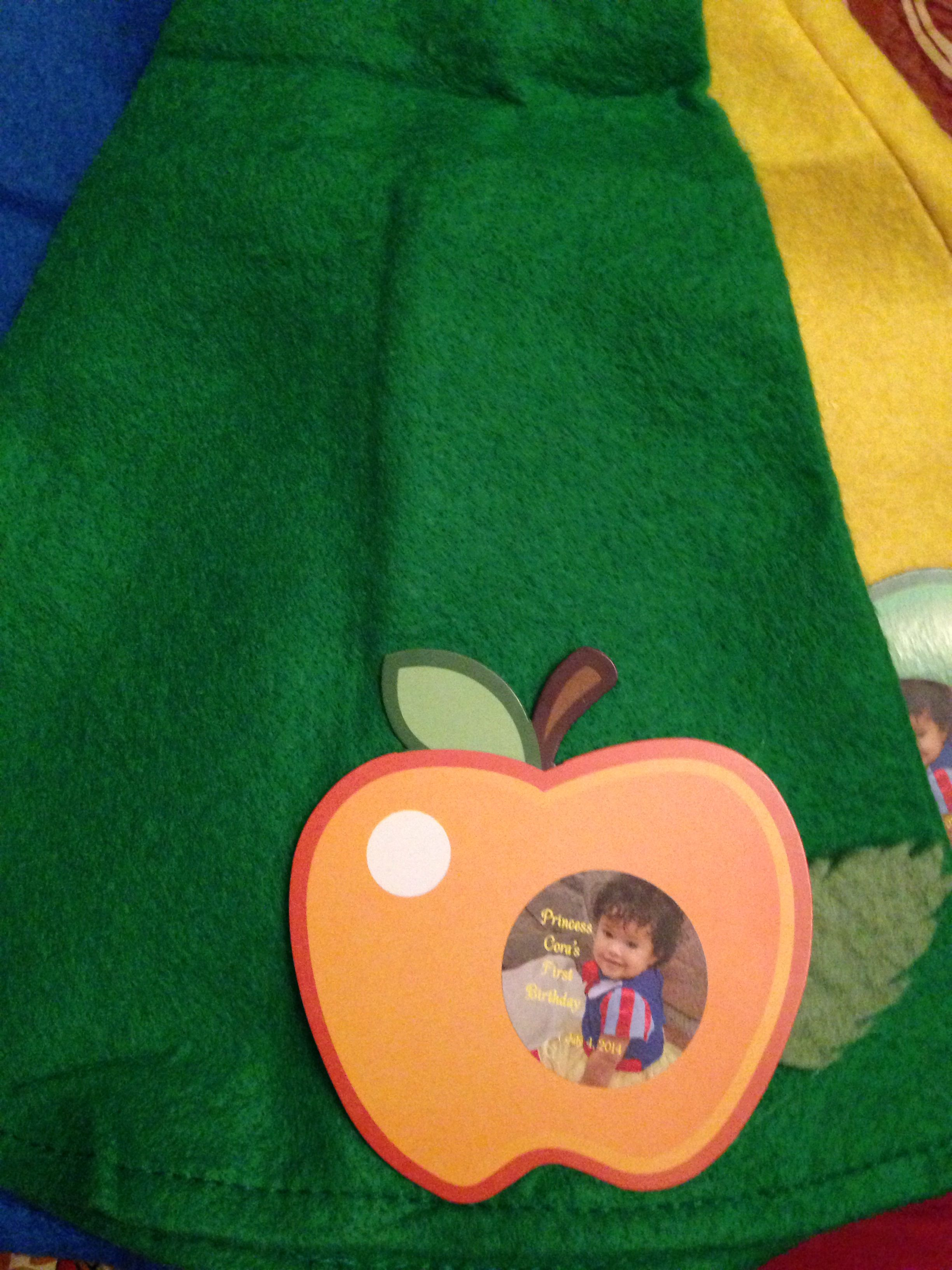 Dwarf hats personalized with Apple cutout felt leaves and sticker! Snow White 1st birthday.