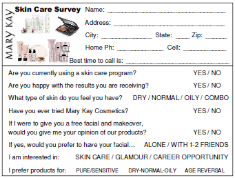 Skin Care Survey  Mary Kay Consultant    Mary Kay
