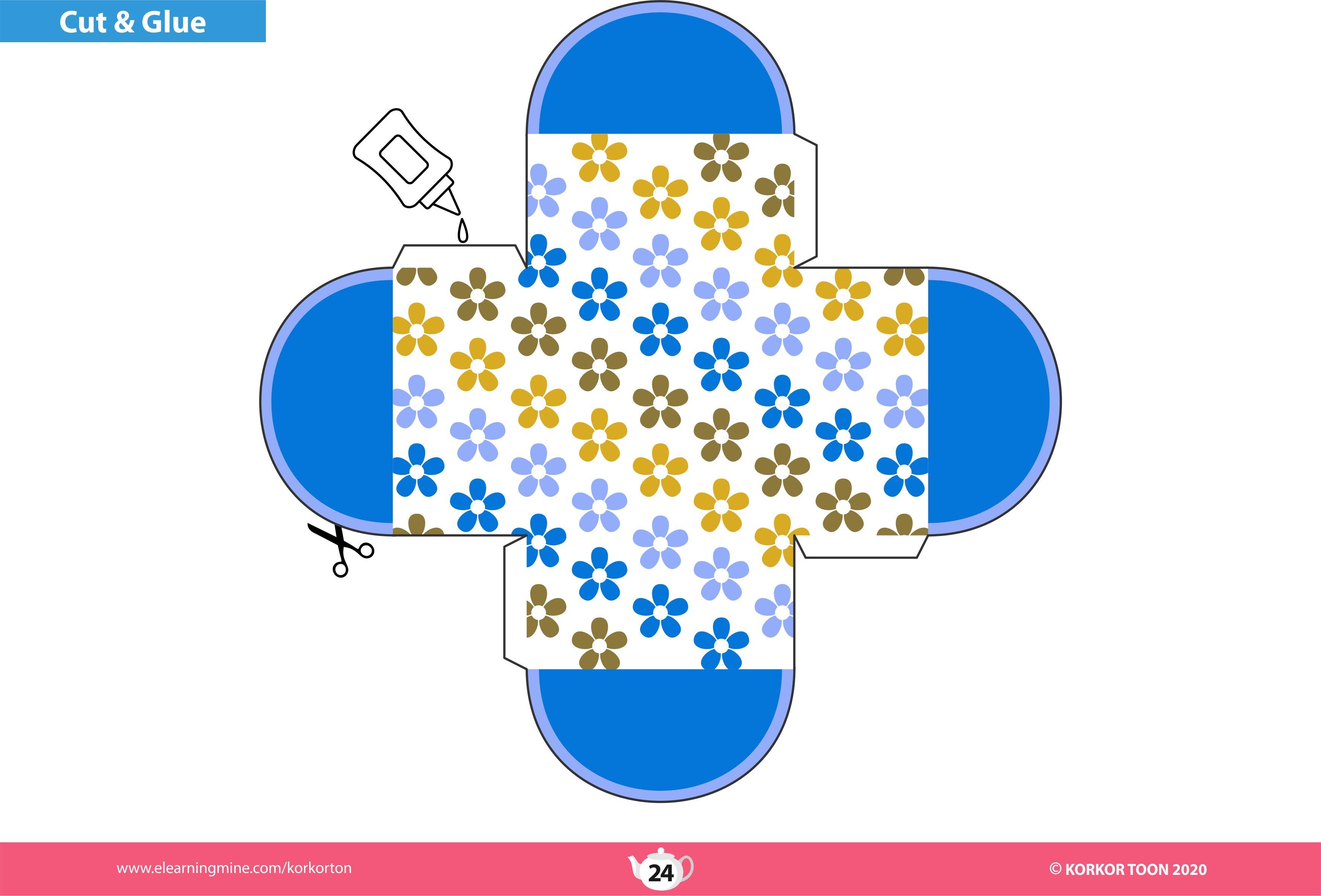 Printable Gift Box Template باترون علبة هدايا Eid Decoration Decor Printables