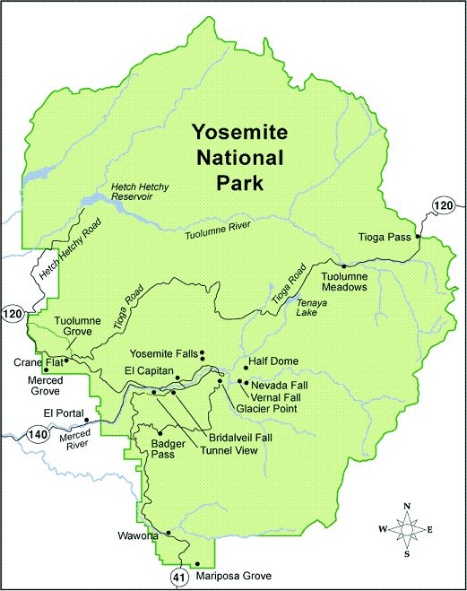 Yosemite Highlights And Map Yosemite National Park Map Yosemite Map Yosemite