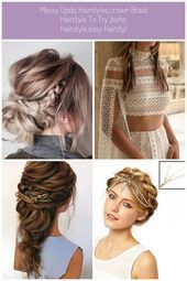 Messy updo hairstyles,Crown braid hairstyle to try ,boho hairstyle,easy hairstyl... #messyupdos