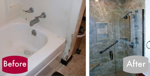 Convert Your Old Tub To A Beautiful Walk In Shower Bathroom