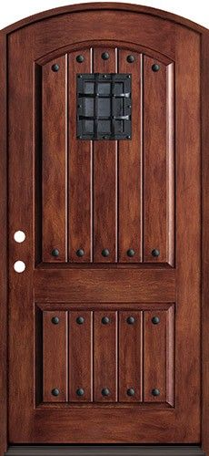 Rustic Fiberglass Prehung Arched Door Unit With Speakeasy