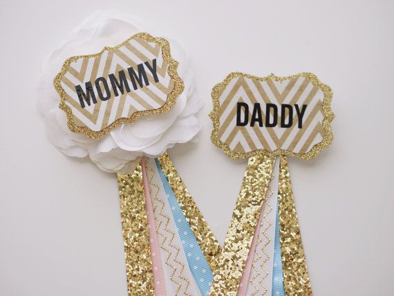 Gender Reveal Buttons Pink Baby Blue And Gold By Craftsgalaura
