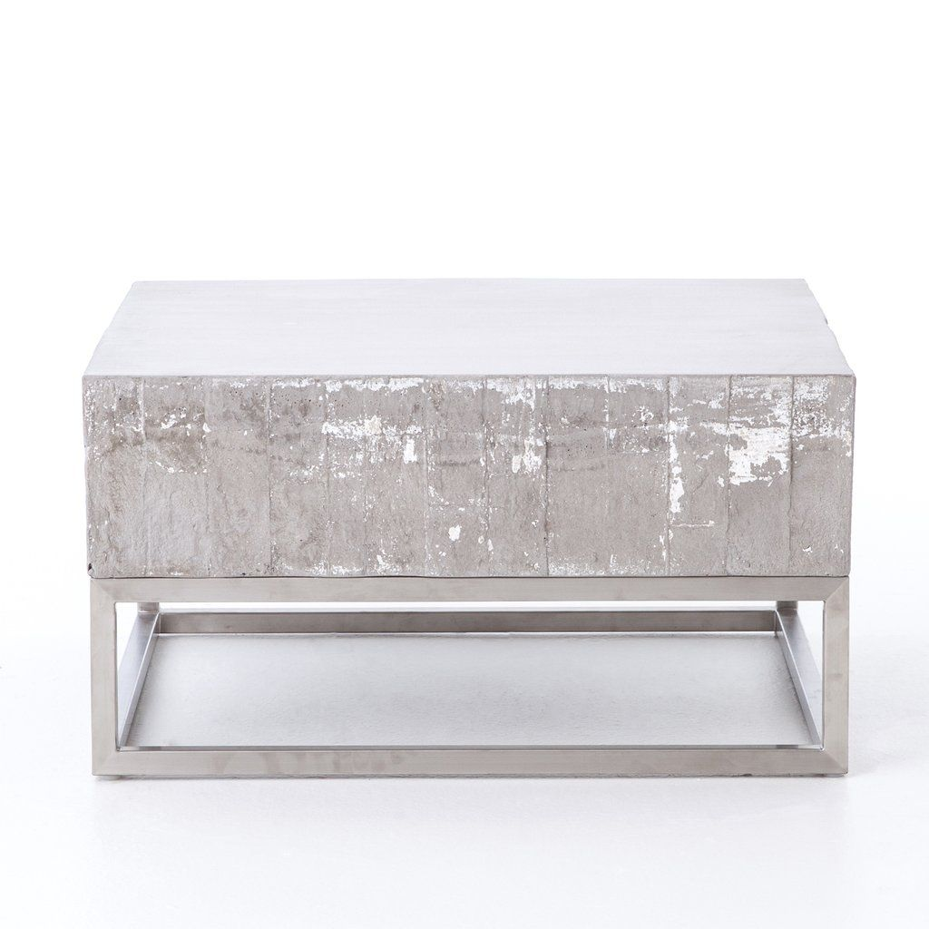 Concrete chrome coffee table concrete coffee table