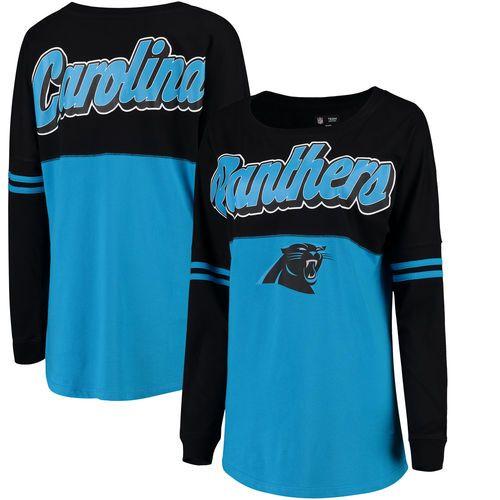 Carolina Panthers 5th & Ocean by New Era Women's Athletic Varsity Long Sleeve T-Shirt - Black/Blue