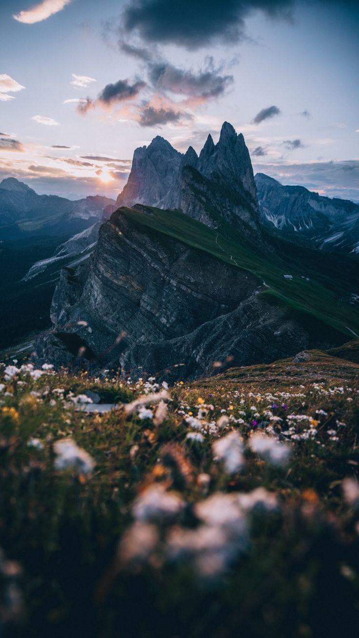Berge Alpen Gipfel Rasen Himmel Landschaft Vektorgrafik