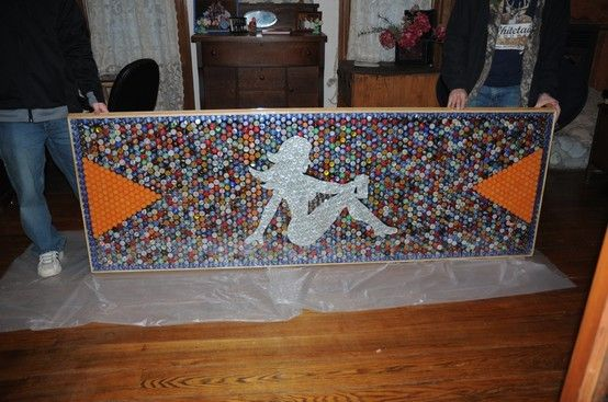 beer pong table made with lots & lots of beer caps!! http://pinterest.net-pin.info/