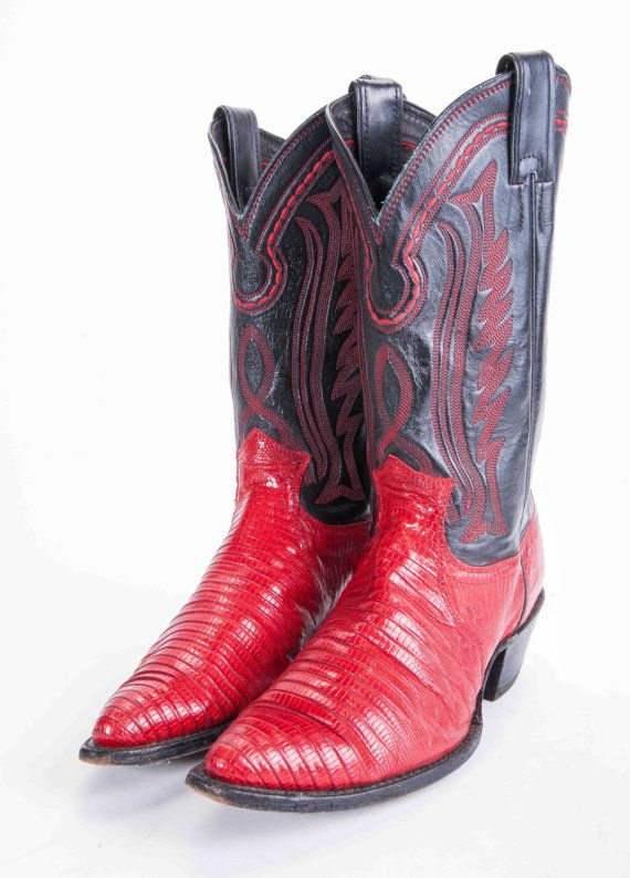 JUSTIN Black & Red Cowboy Boots Women's Size 8 | Cowboy boots ...