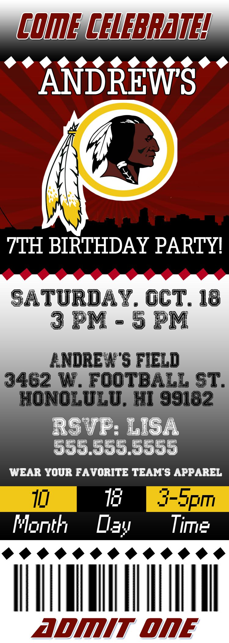 NFL Washington Redskins Birthday Invitation | Washington redskins ...