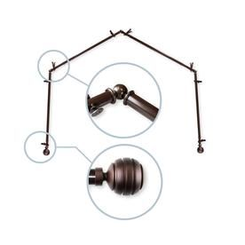 Hart Harlow Polly 13 16 In 4 Sided Bay Window Curtain Rod Cocoa