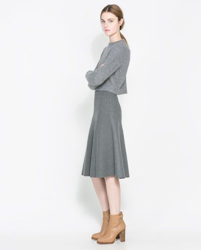 Image 1 of COWL NECK RIB-KNIT SWEATER from Zara