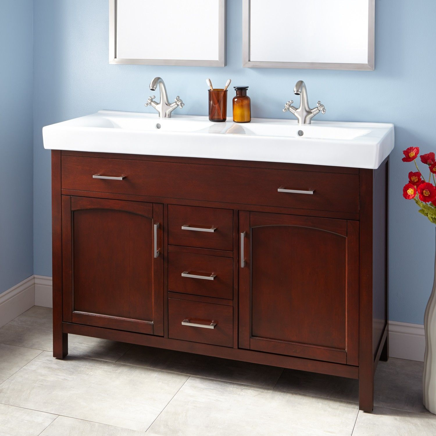 48 Bates Double Vanity Walnut With Double Trough Sink Double