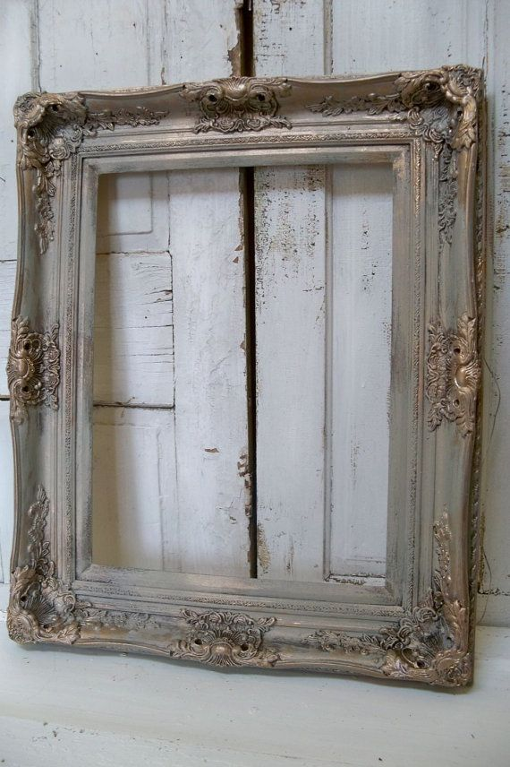 Large Frame French Farmhouse Ornate Hand Painted A Barn Gray Ornate Frame Vintage Gold Mirror French Farmhouse