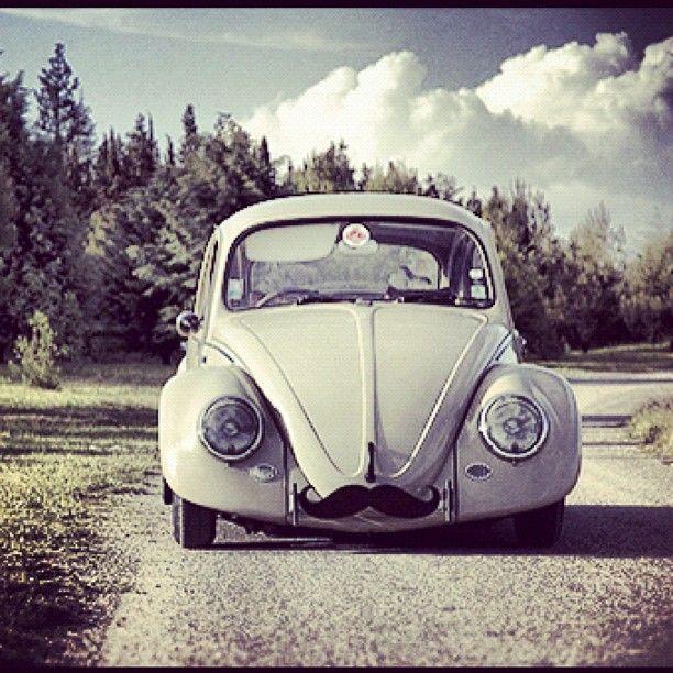 vw beetle + mustache = awesome. @VW, Volkswagen, car, antique, beetle