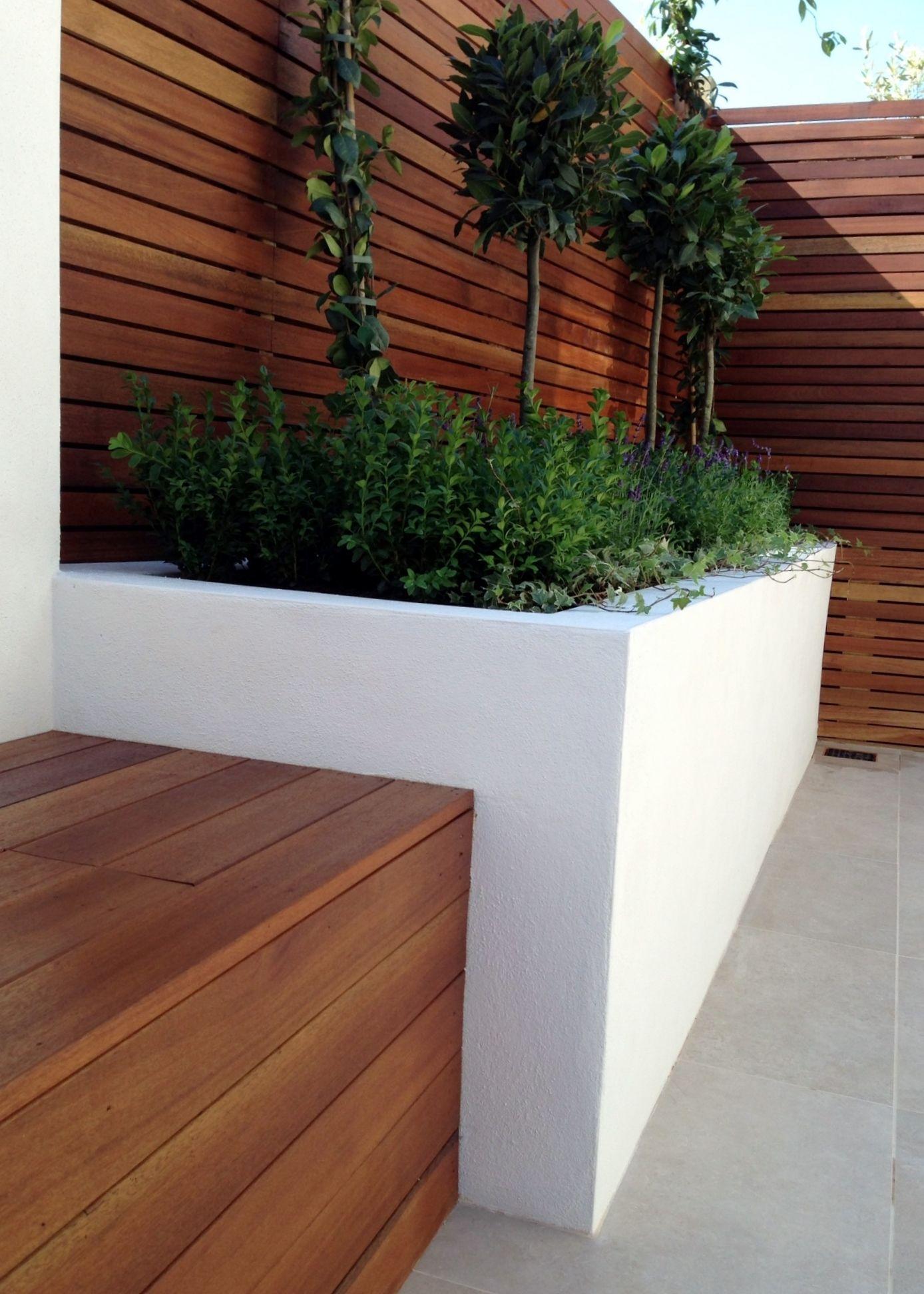 Clapham London Garden Design Sandstone Paving Hardwood