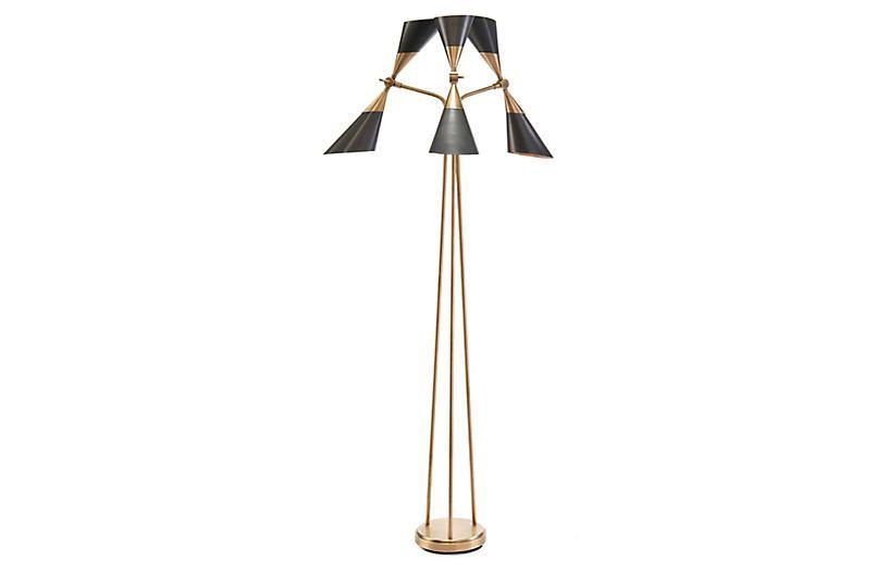 Mid century torchiere floor lamp brass bronze john richard