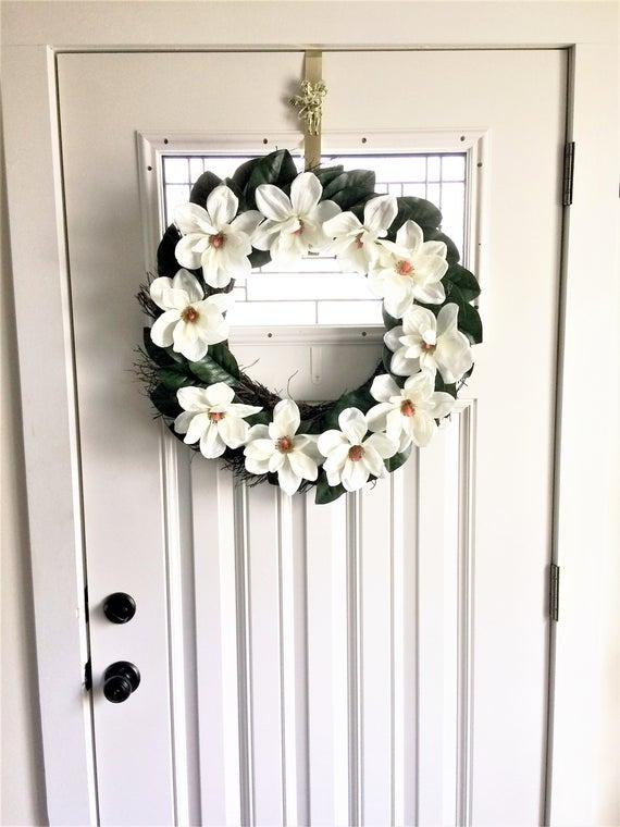 Photo of Magnolia Wreath, Summer Door Wreath, Front Door Wreath, Summer Wreath, Door Wreath, Spring Wreath, Summer Wreaths, Wreath for Door, Decor