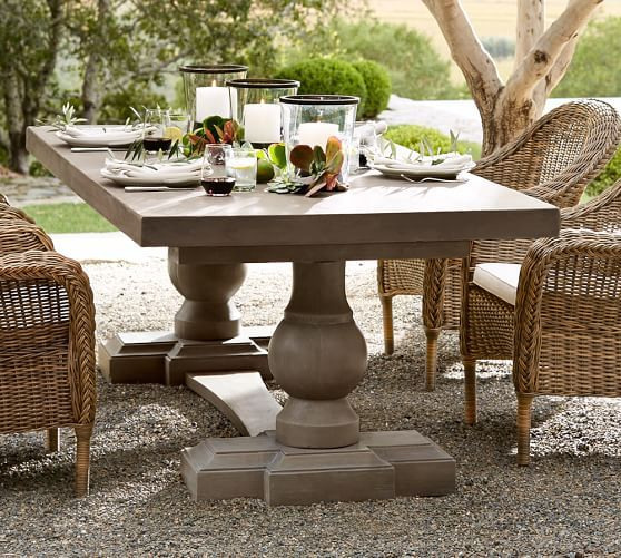 Dining Room Tables Pottery Barn scarlett concrete rectangular dining table | pottery barn