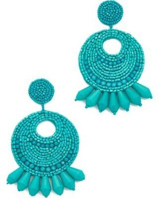 Kenneth Jay Lane Seed Bead Hoop Earrings Turquoise