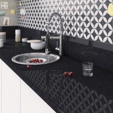 Plan de travail stratifié Effet marbre noir Brillant L300 x P65 cm - adhesif pour plan de travail cuisine