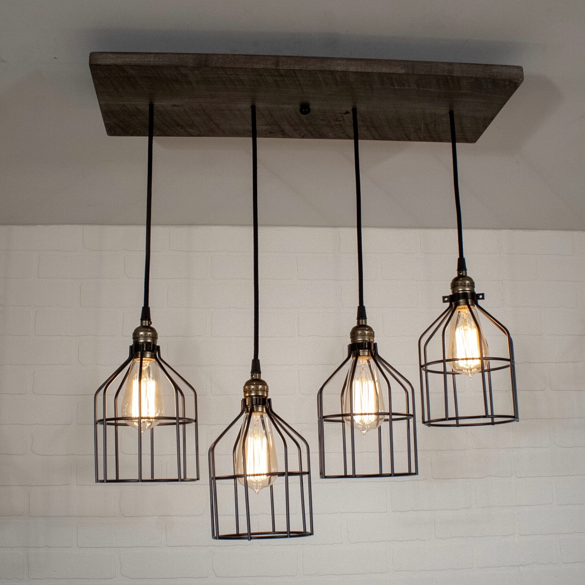 Wood Chandelier Lighting Rustic Kitchen Island Light Featuring 4