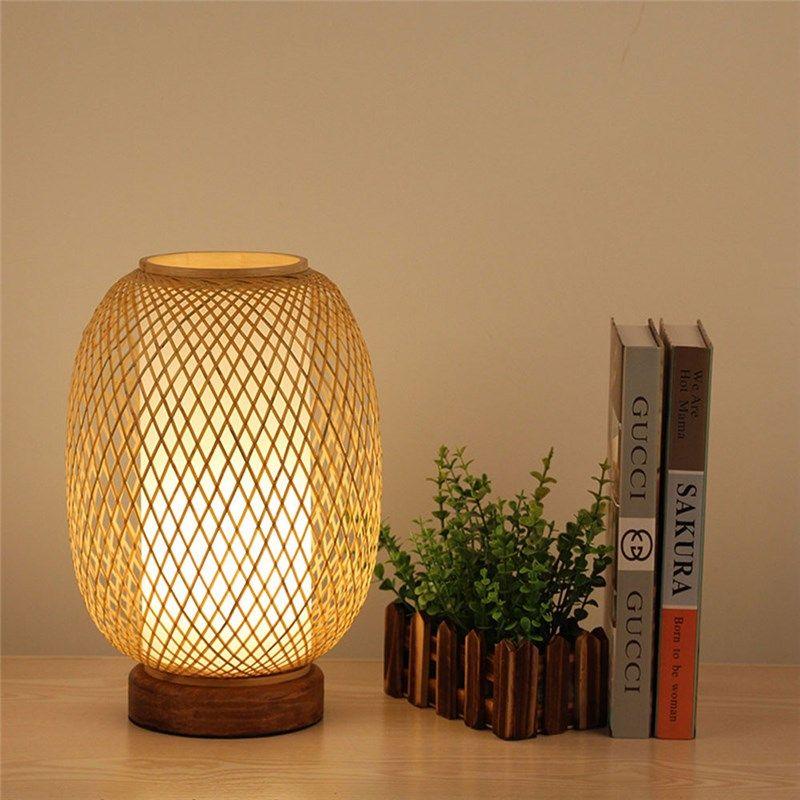 Cocoon Shape Table Lamp Japanese Bamboo Desk Lamp Living Room