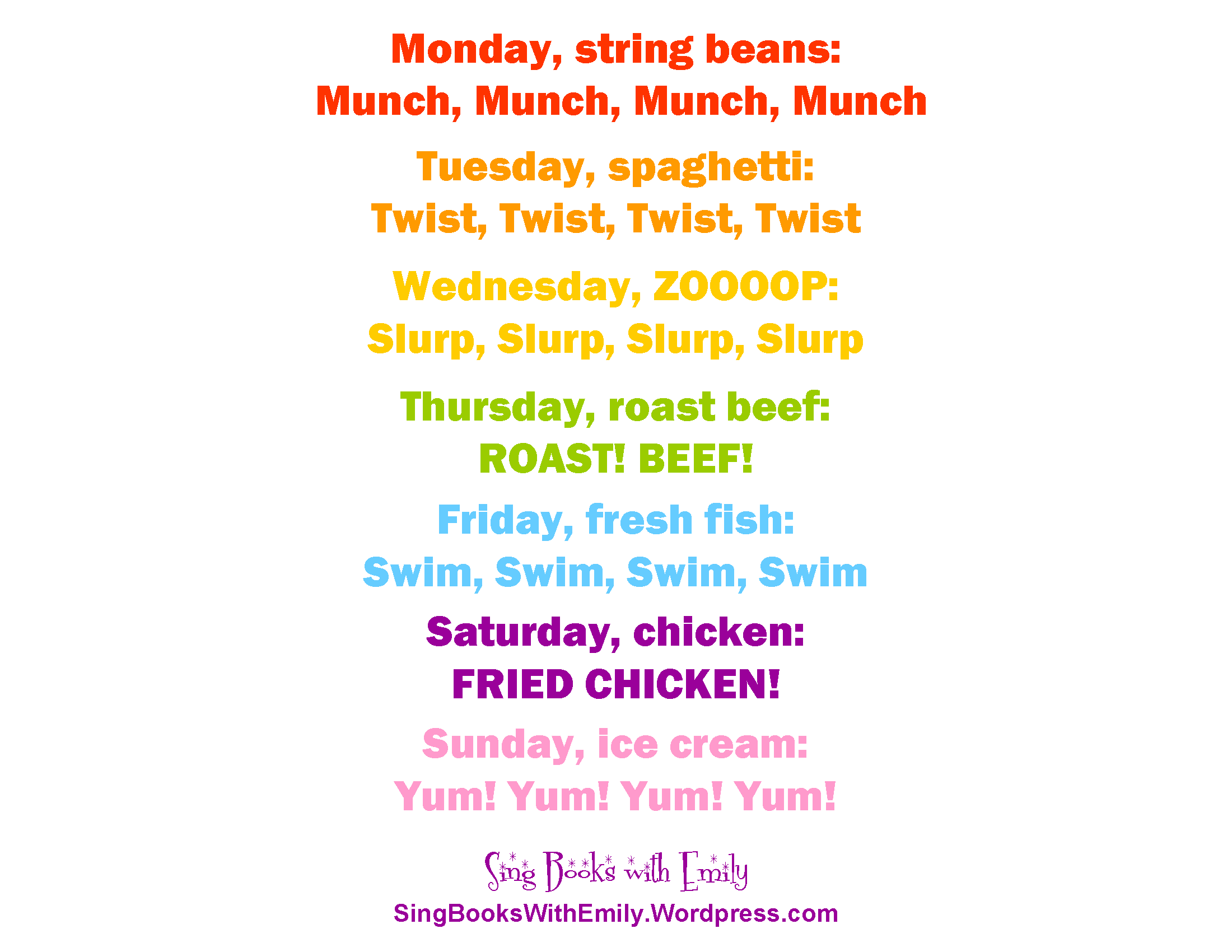 eric carle days of the week song and book all you hungry children come and - Starfall Printable Books