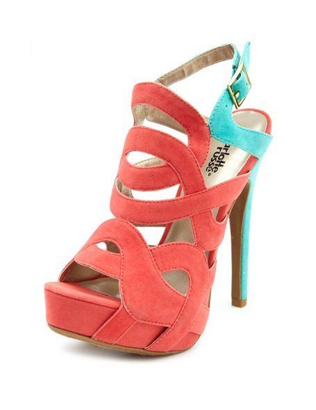 b3352aba0d4 Caged Velvet Color Block Sandal  Charlotte Russe Ugly Shoes