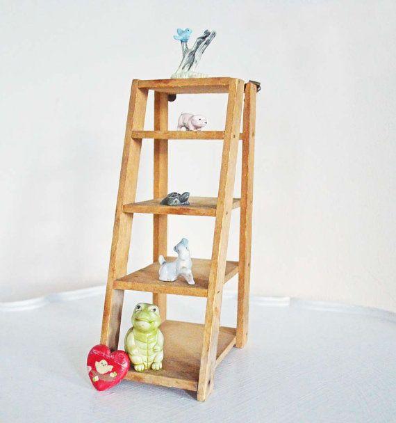 Vintage Wood Ladder Wall Shelf Mini Display Step By Mothrasue