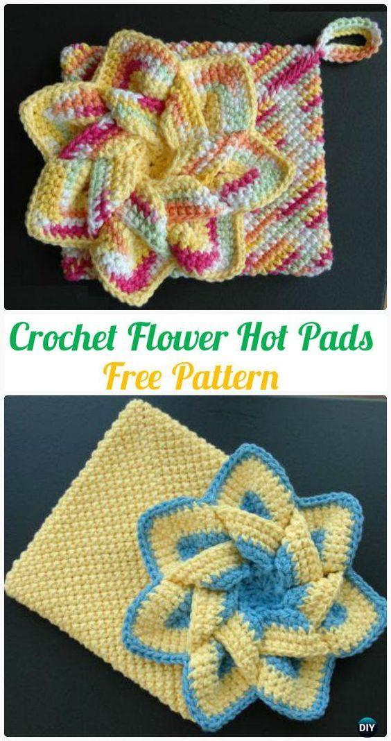 Crochet Pot Holder Hotpad Free Patterns | Agarraderas, Agujas de ...