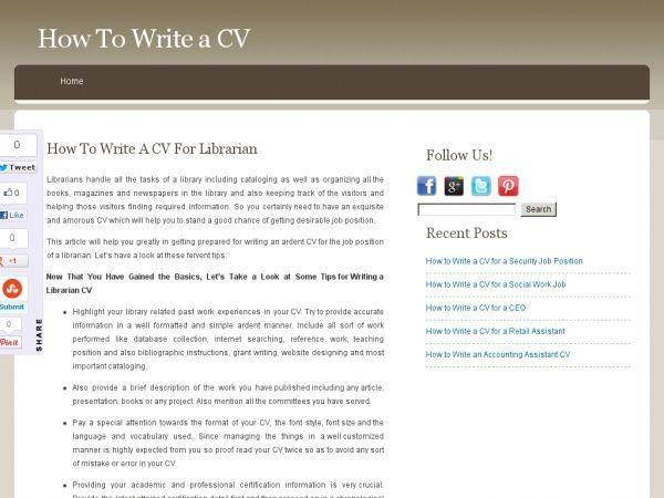 How To Write a CV LibraryJob Pinterest - librarian cv