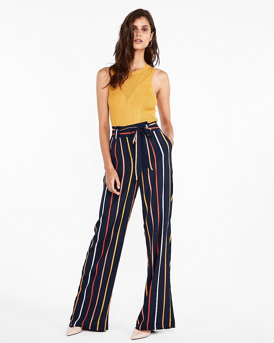 a281f7ffe4 High Waisted Stripe Tie Waist Wide Leg Dress Pant   Express   Fancy ...