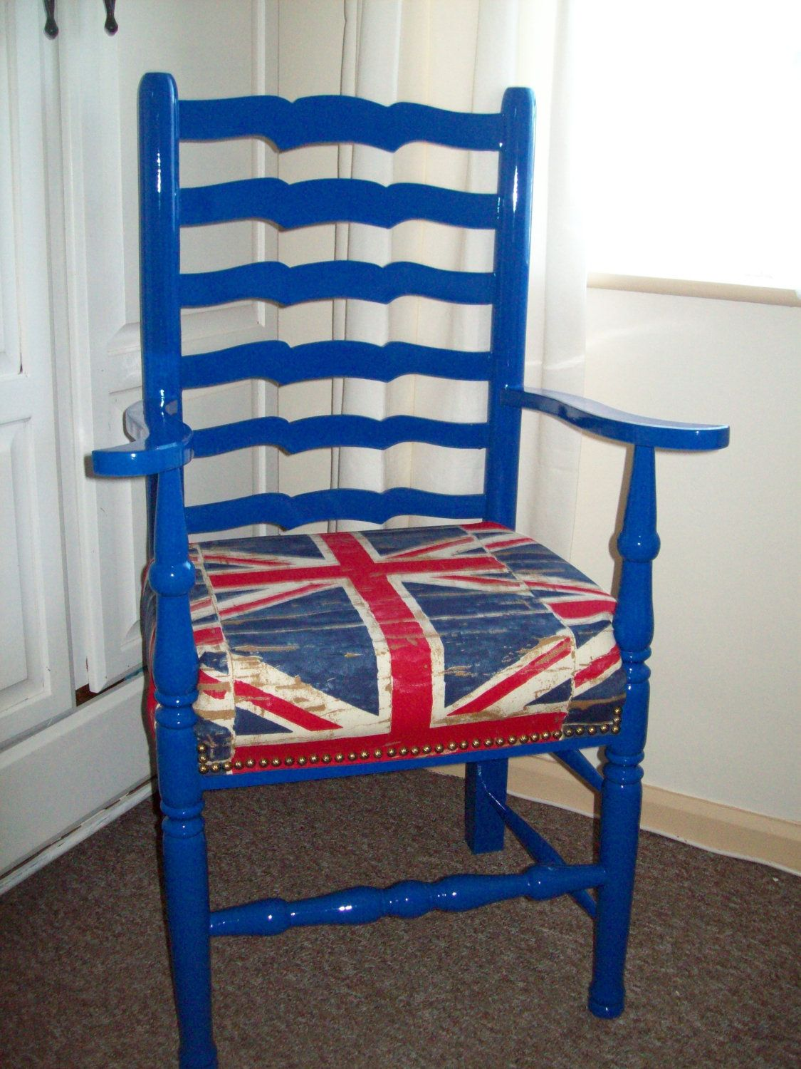 Union Jack wooden arm chair | Wooden armchair, Rattan ...