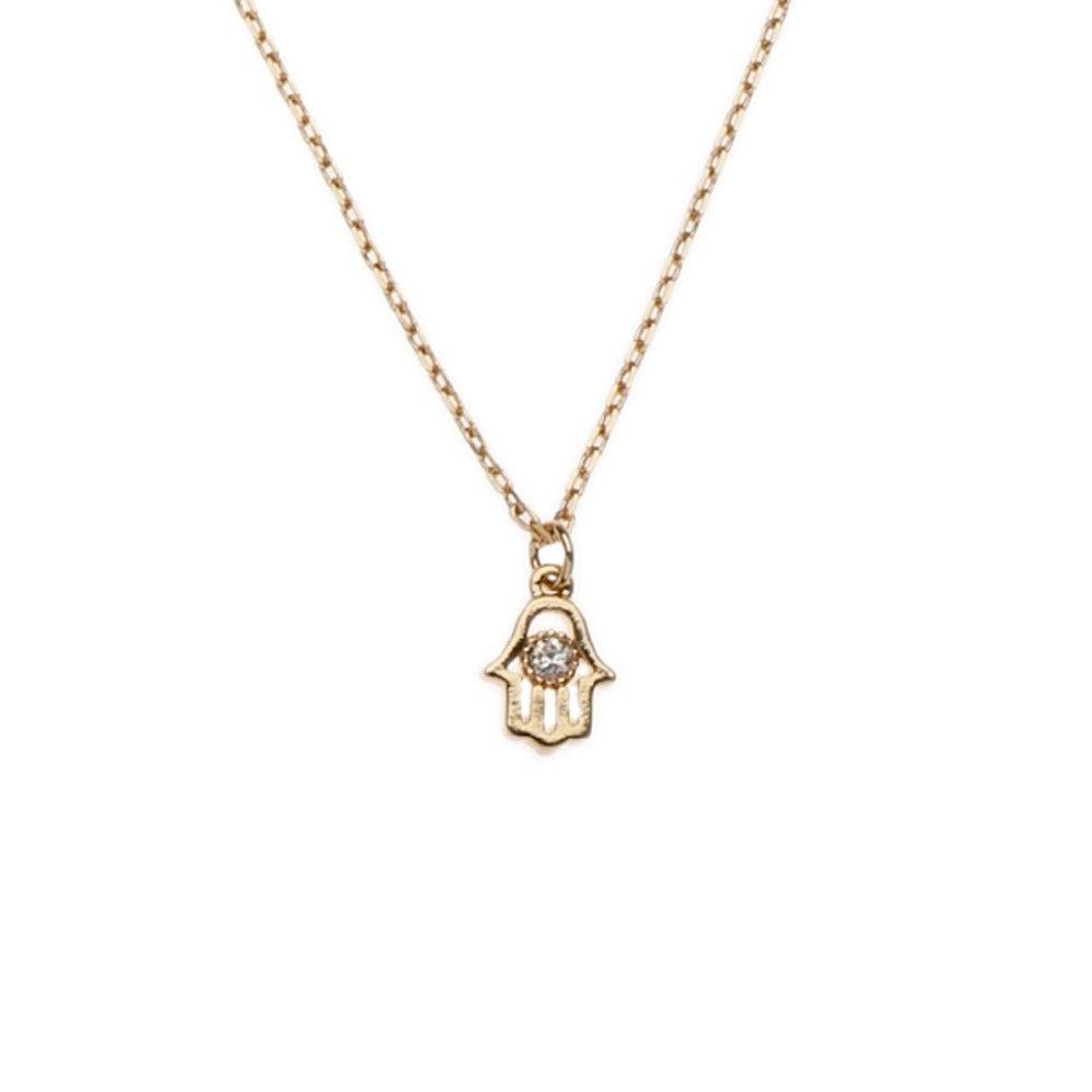 0af8ee457f752 Tiny Hamsa Hand Necklace - www.orelia.com