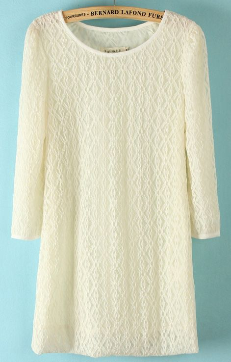 White Long Sleeve Loose Lace Straight Dress - Sheinside.com