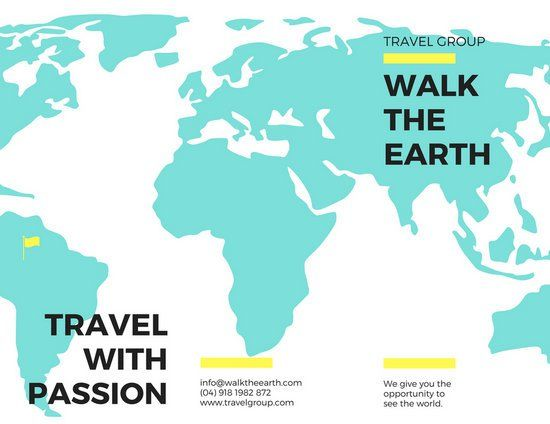 Turquoise Map Travel Trifold Brochure Emergency Preparedness - Travel guide brochure template