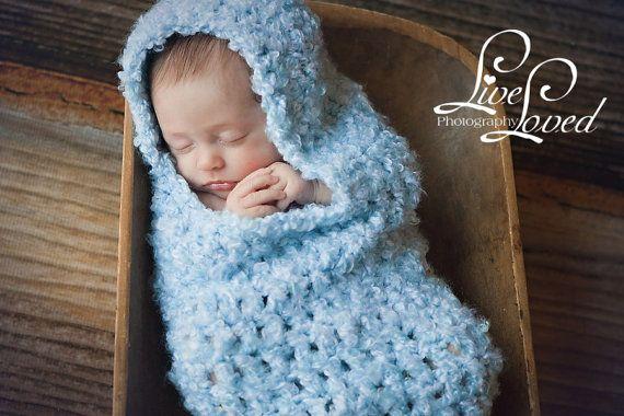 Download PDF crochet pattern s004 Newborn Hooded Cocoon