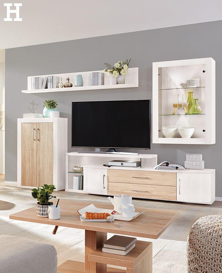 helle und freundliche wohnwand wohnzimmer idee inspiration einrichten