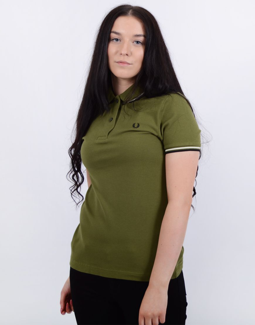 cea11ddd Fred Perry Womens Twin Tipped Polo Shirt Capulet Olive | Outfits ...