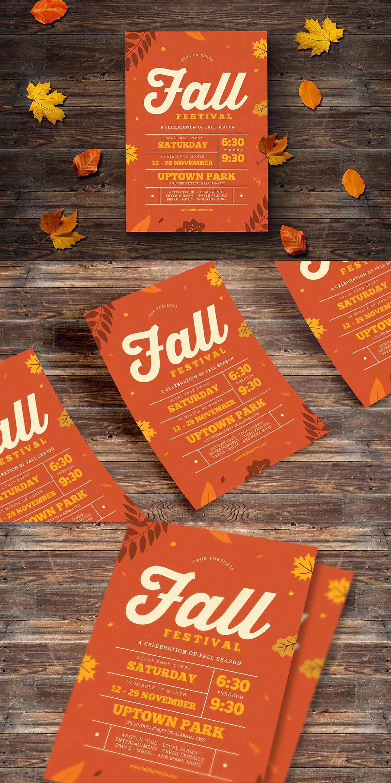 Fall Festival Event Flyer Template Ai Psd A4 Flyer Design