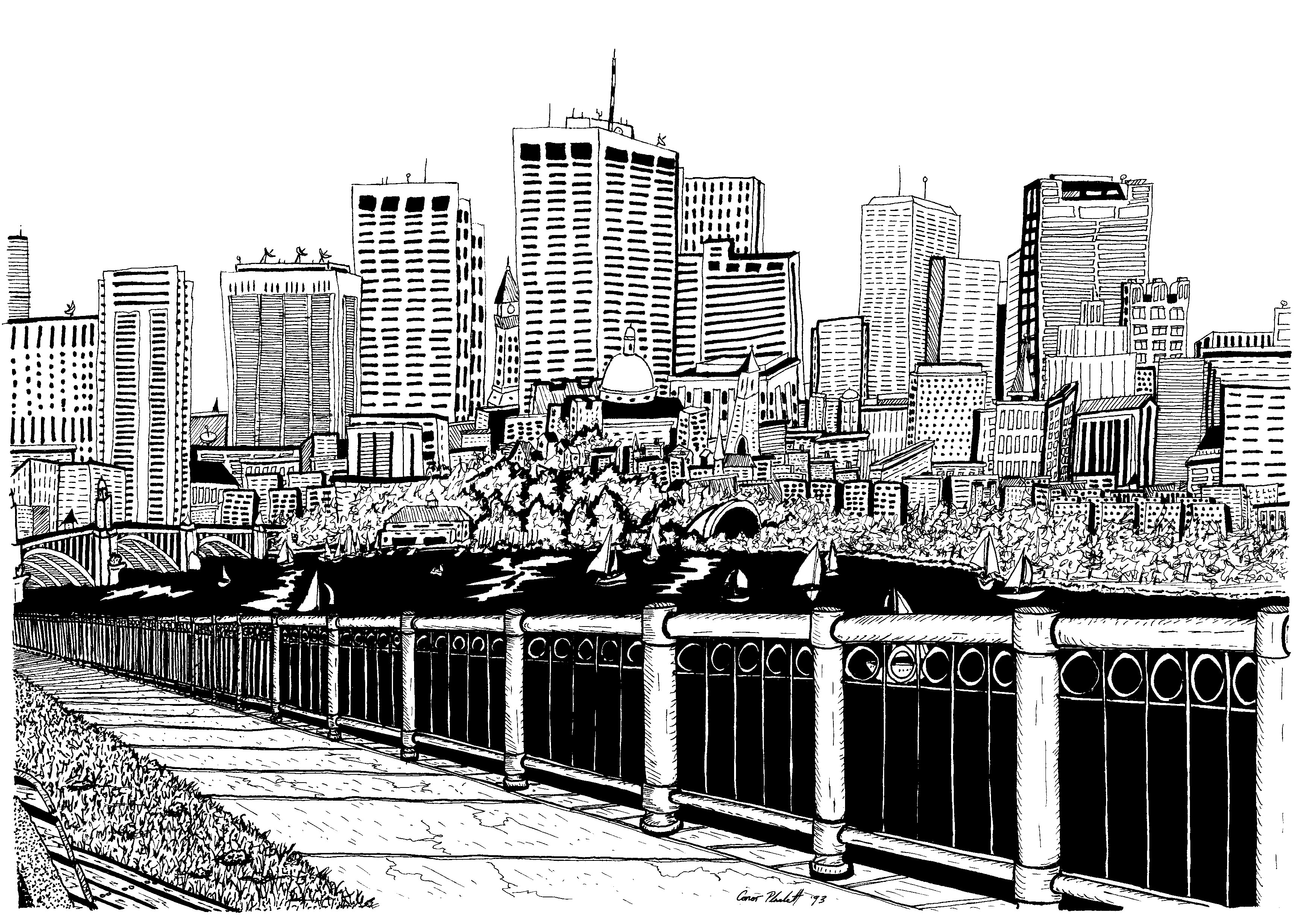 A Pen Ink Drawing Of The Boston Skyline And Storrow Drive From Memorial Drive Ink Pen Drawings Boston Skyline Skyline